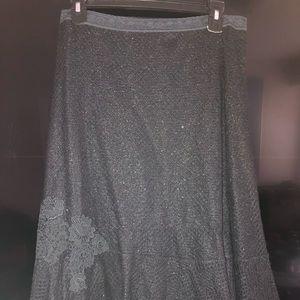 Crochet mid length black skirt w/metallic tones